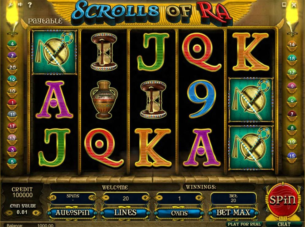 Scrolls of RA slots gameplay