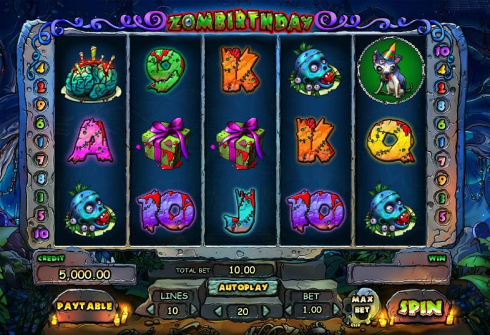 Zombirthday online slots game gameplay