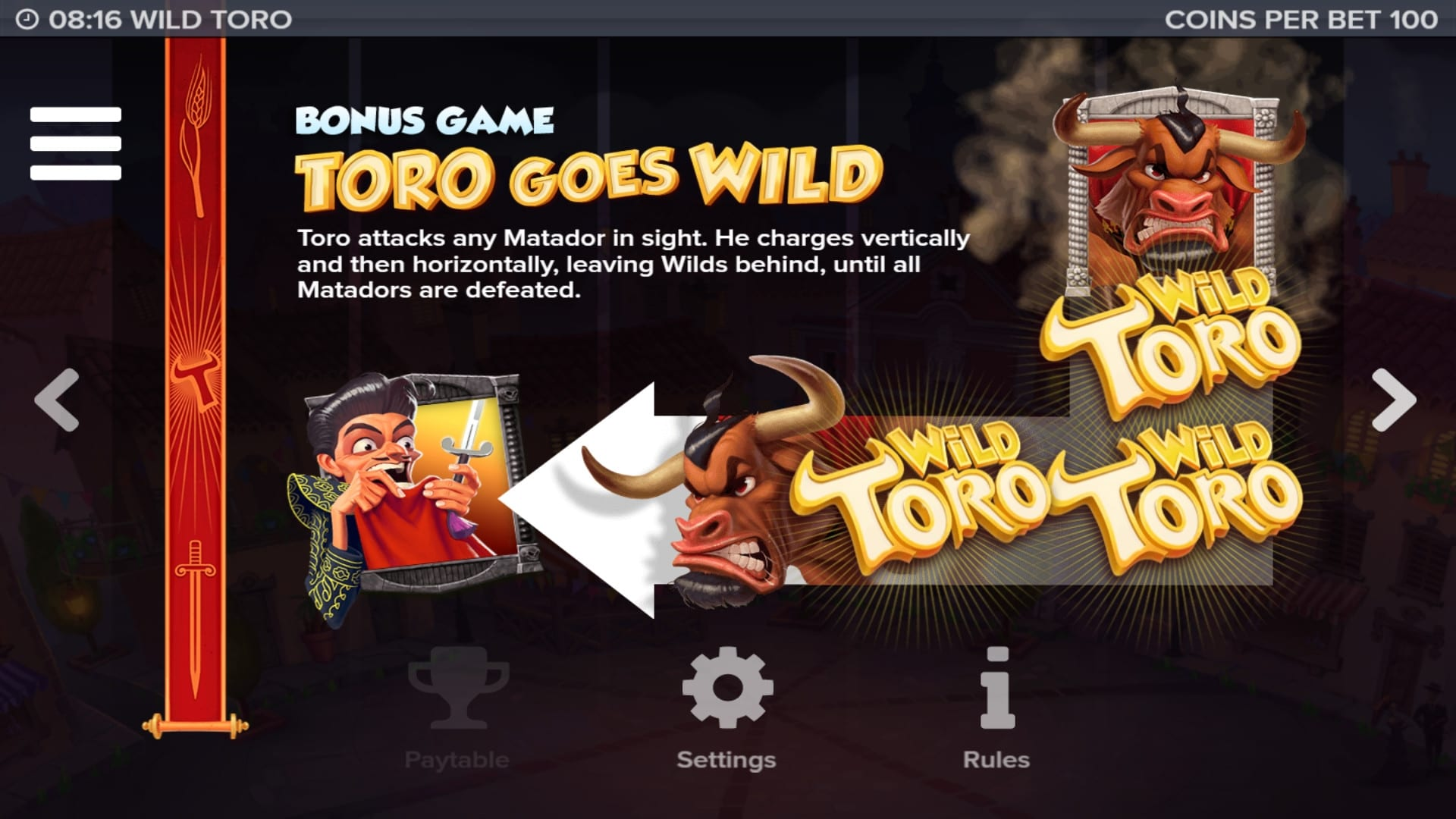 Wild Toro online slots game rules