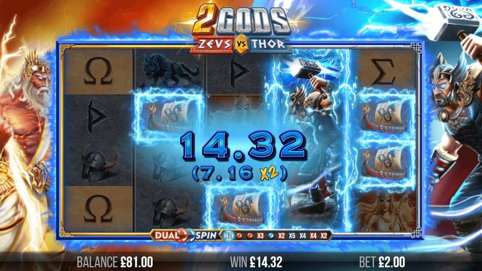 2 Gods Zeus vs Thor Slot Gameplay
