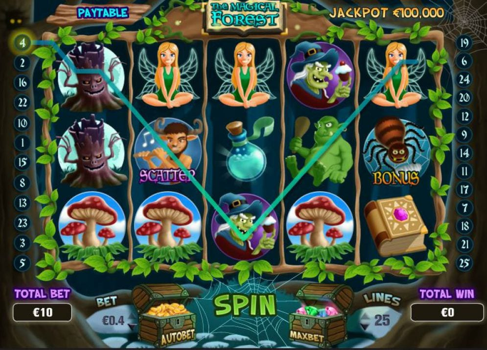 The Magical Forest online slots game pay lines