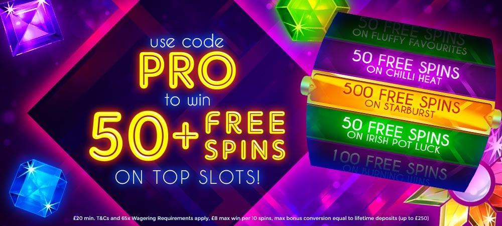 50 Free Spins MegaReel