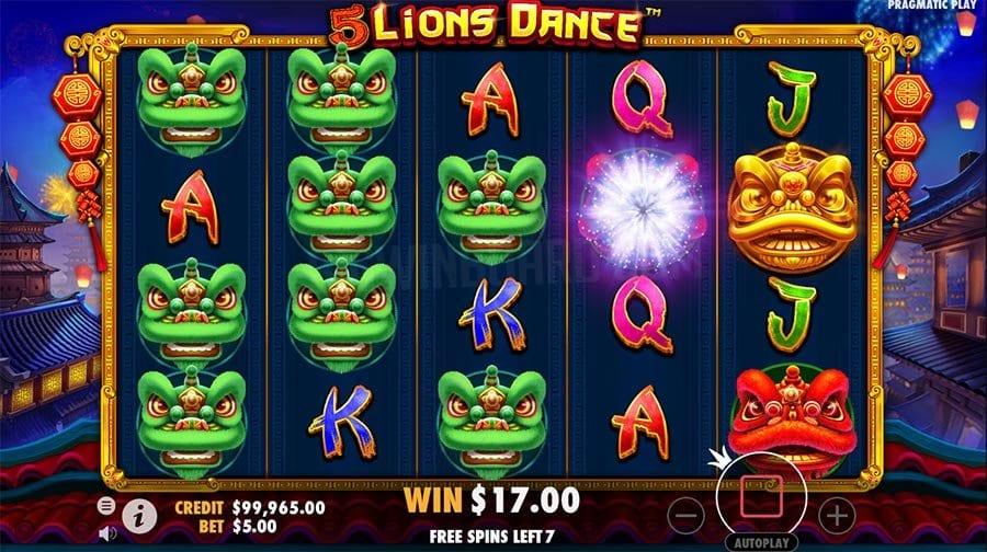 5 Lions Dance Slots Reels