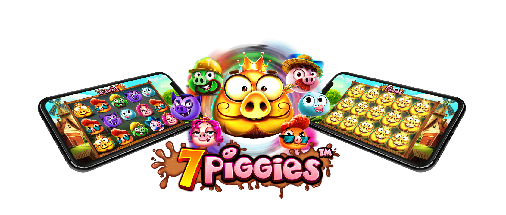 7 piggies slots game logo