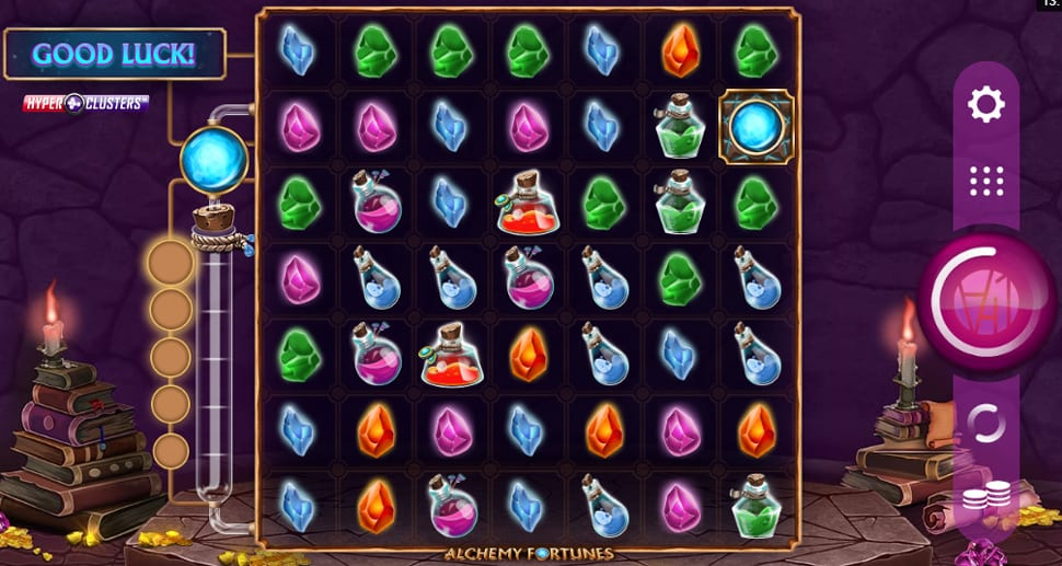 Alchemy Fortunes Hyper Clusters Slot Gameplay