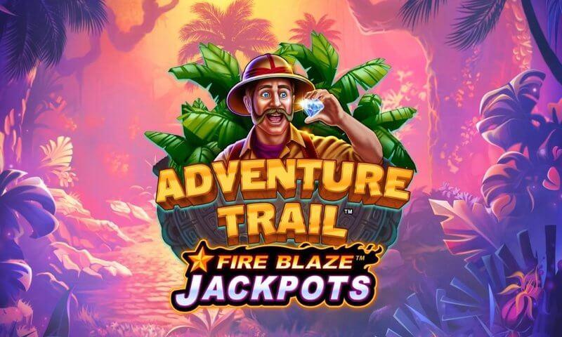 Adventure Trail Fire Blaze Jackpots Slot Logo Wizard Slots