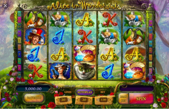 Alice in Wonderslots home screen