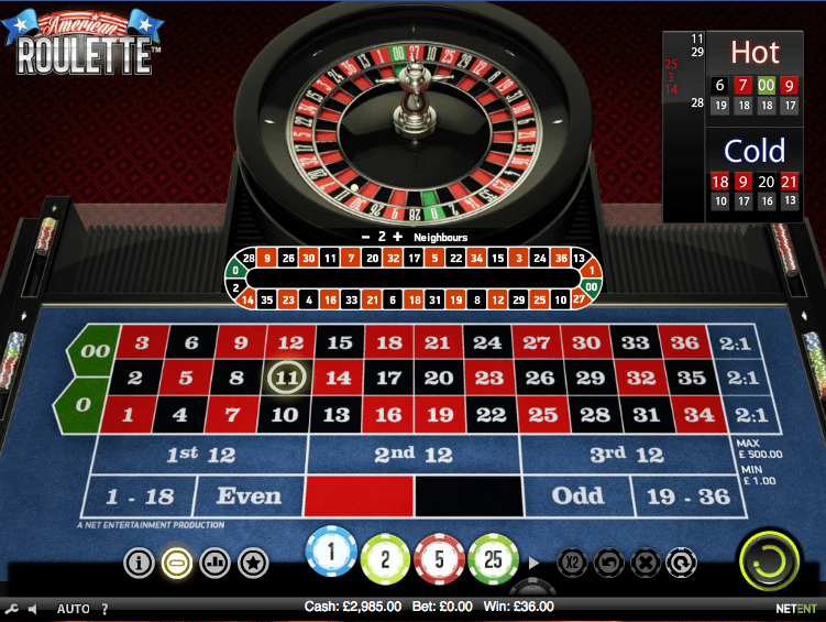 American Roulette overhead screen
