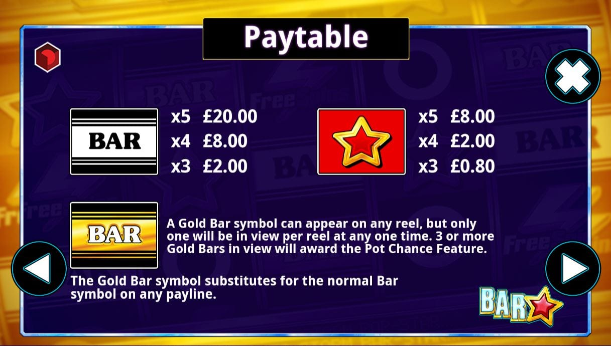 Bar Star paytable