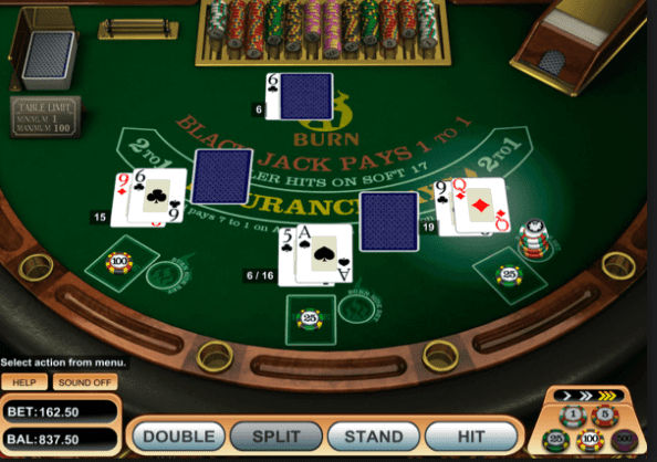 Blackjack table shot