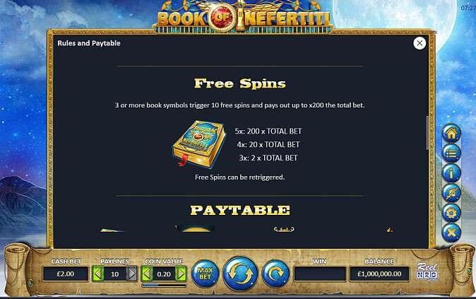 Book of Nefertiti Free Spins Slots