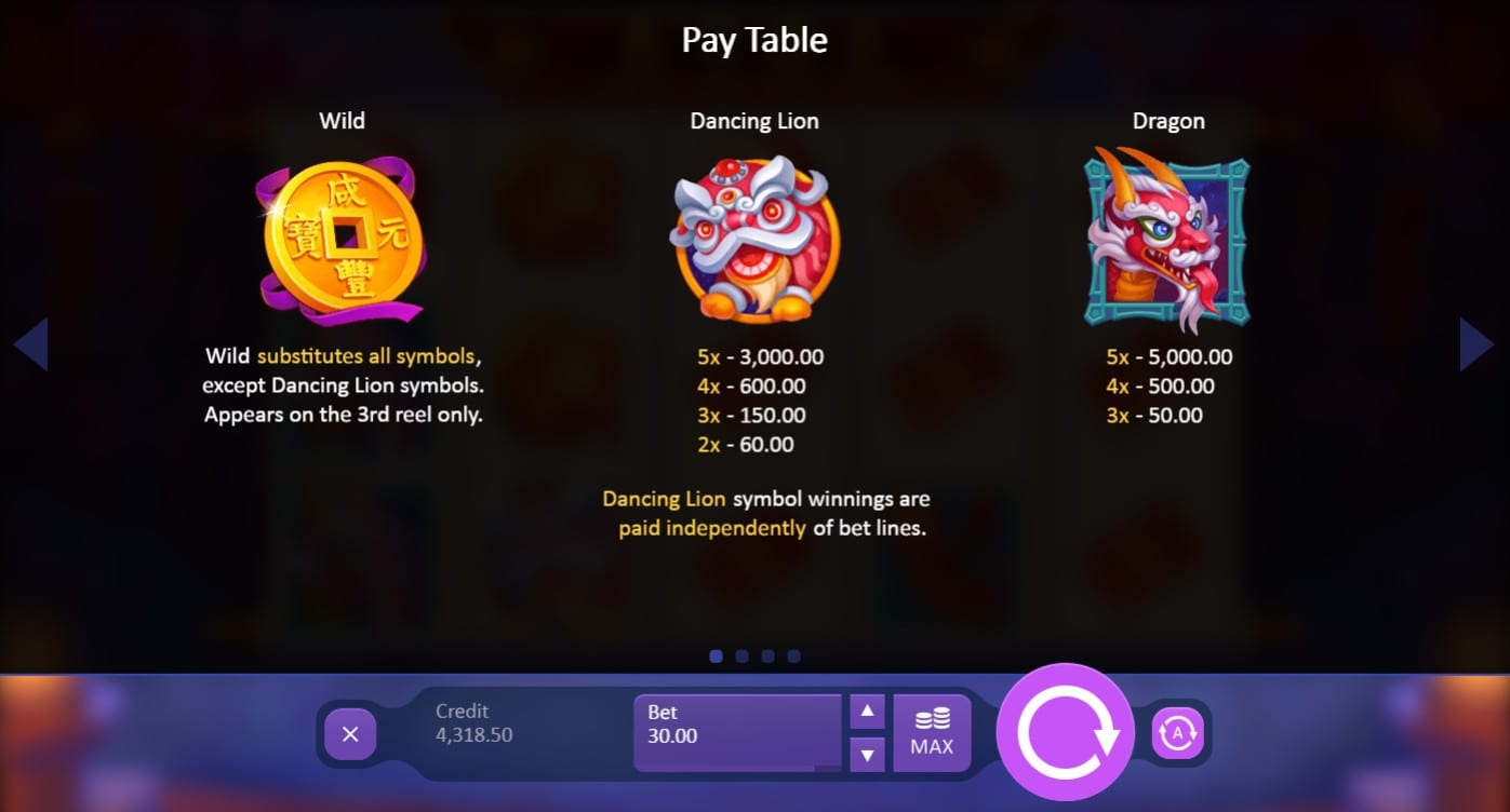 Dancing Dragon Spring Festival paytable