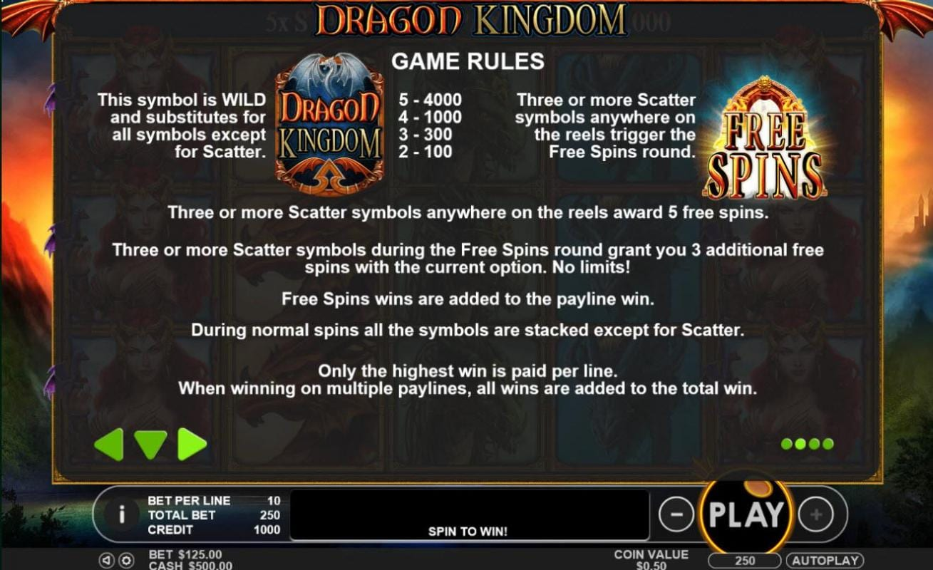 dragon kingdom game rules