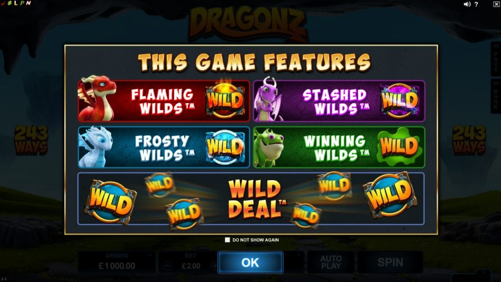 Dragonz online slots game information