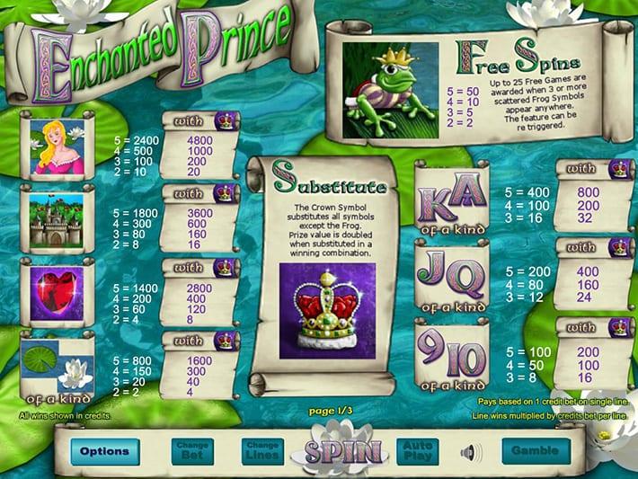 Enchanted Prince paytable