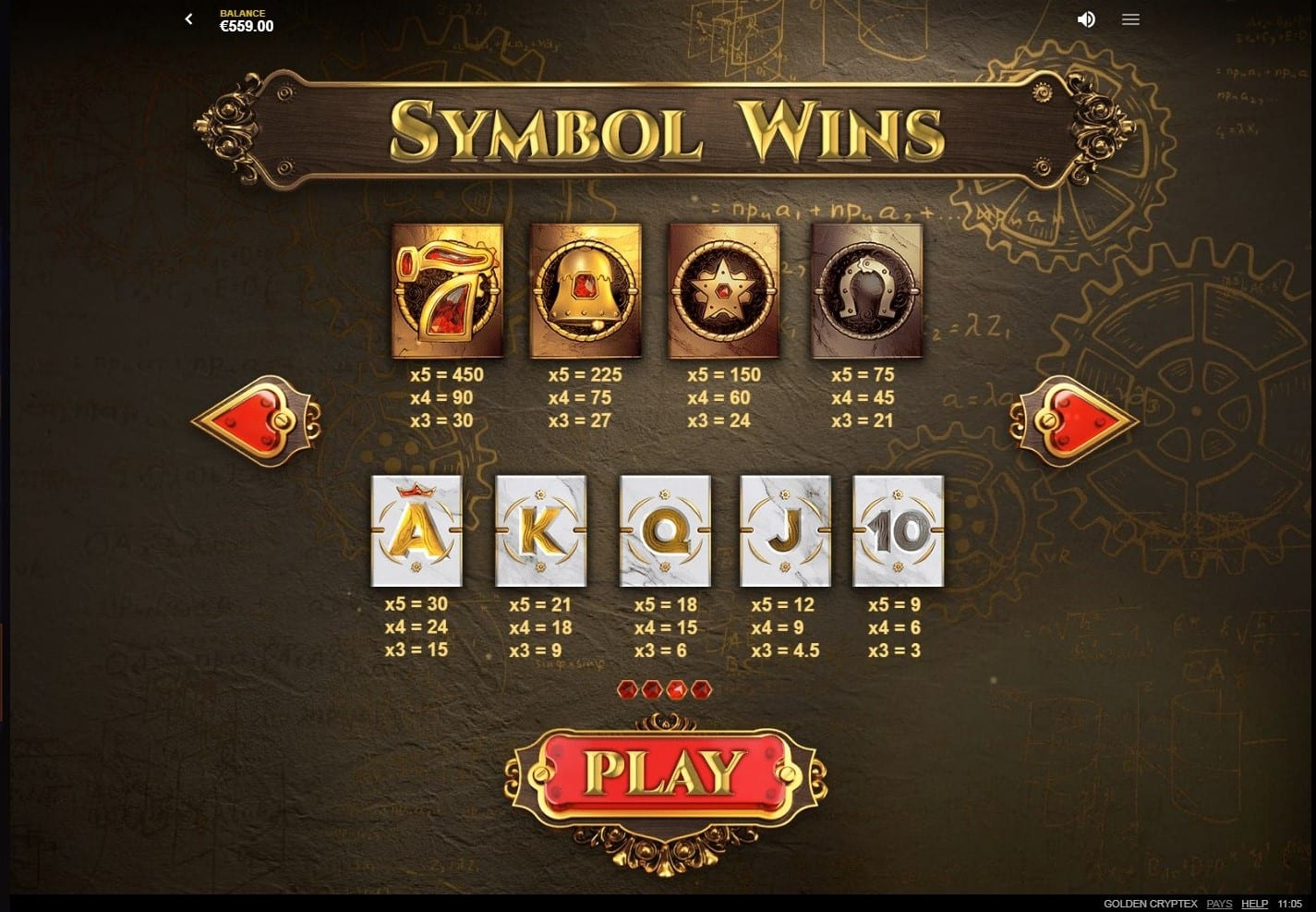 Golden Cryptex Slots Symbols