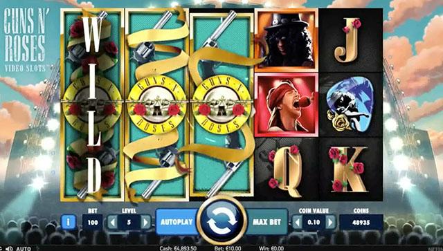Guns N' Roses Video Slots Gameplay