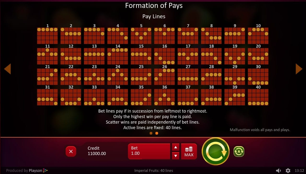 Imperial Fruits 100 Lines Slots Paylines