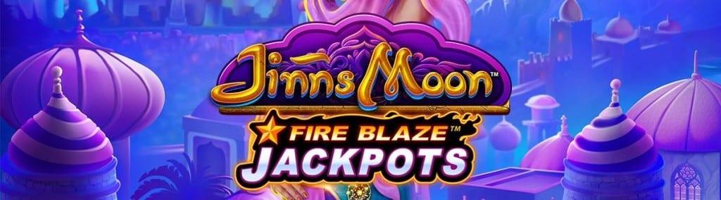 Jinns Moon Fire Blaze Jackpots Slot Logo Wizard Slots