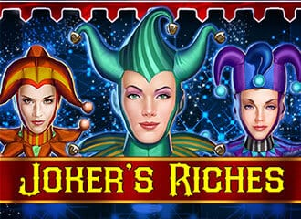 three female jokers with logo of 'Joker's Riches' on banner in front of them