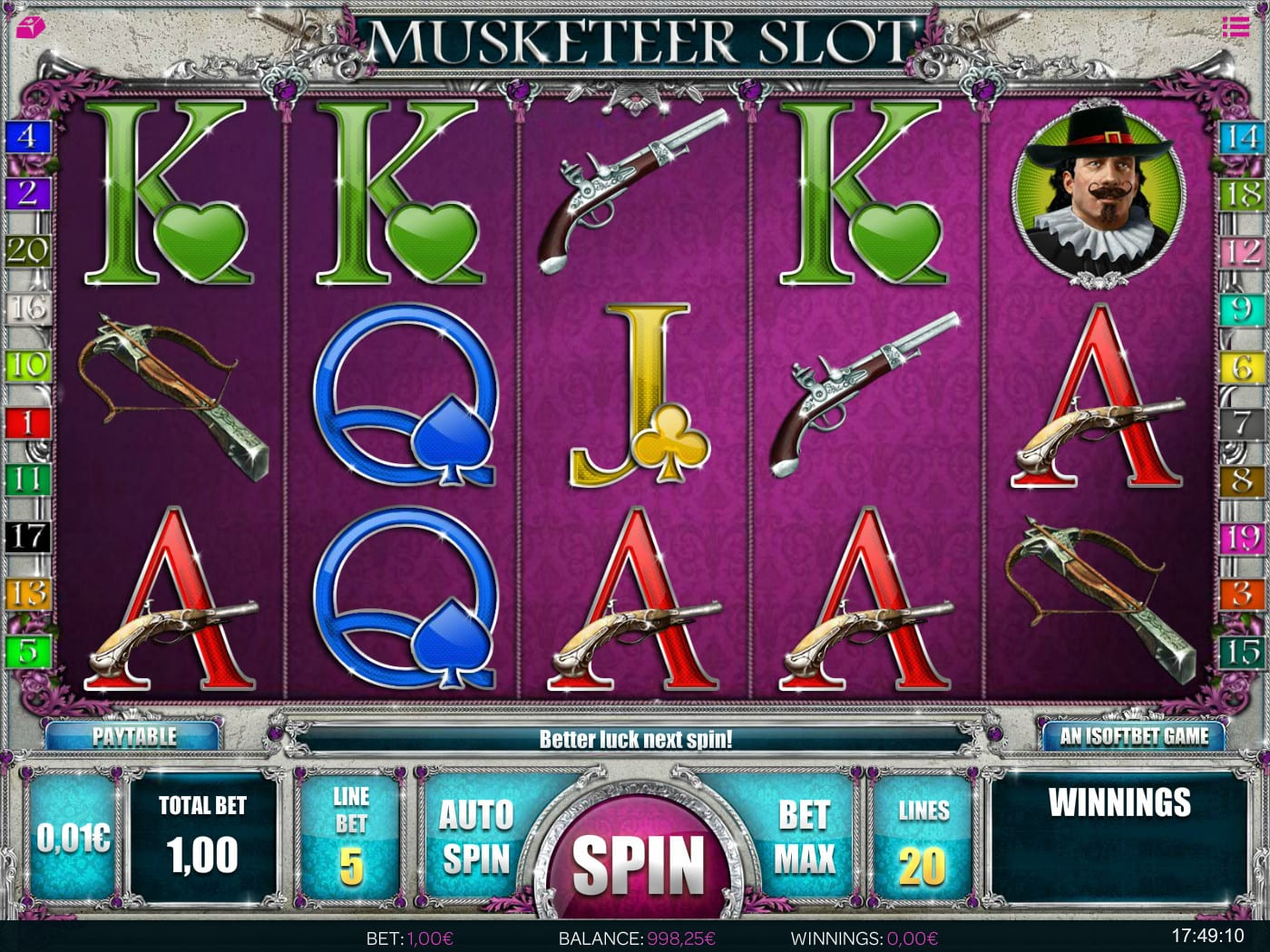 Musketeers Slot reel screen