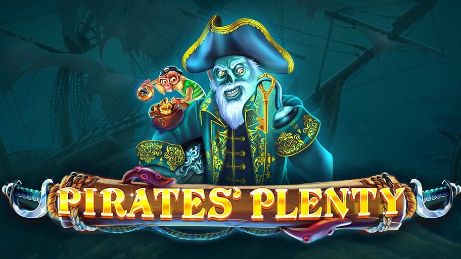 Ghostly pirate with hooked hand holding a gold key, and monkey on his shoulder with the Pirates Plenty logo in front