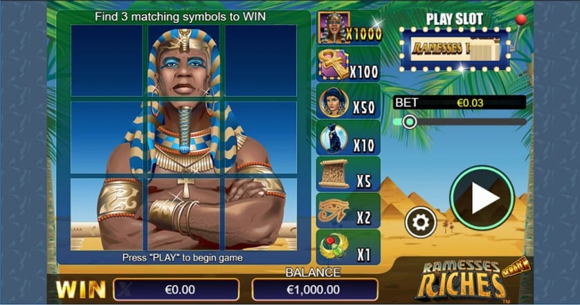 Scratch Ramesses Riches casino game