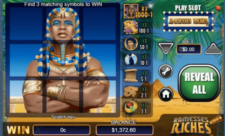 Scratch Ramesses Riches Gameplay
