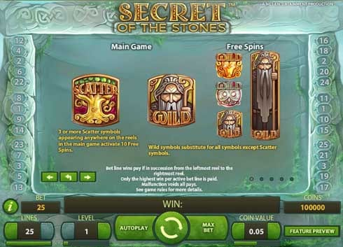 Secret of the Stones online slots game paytable info