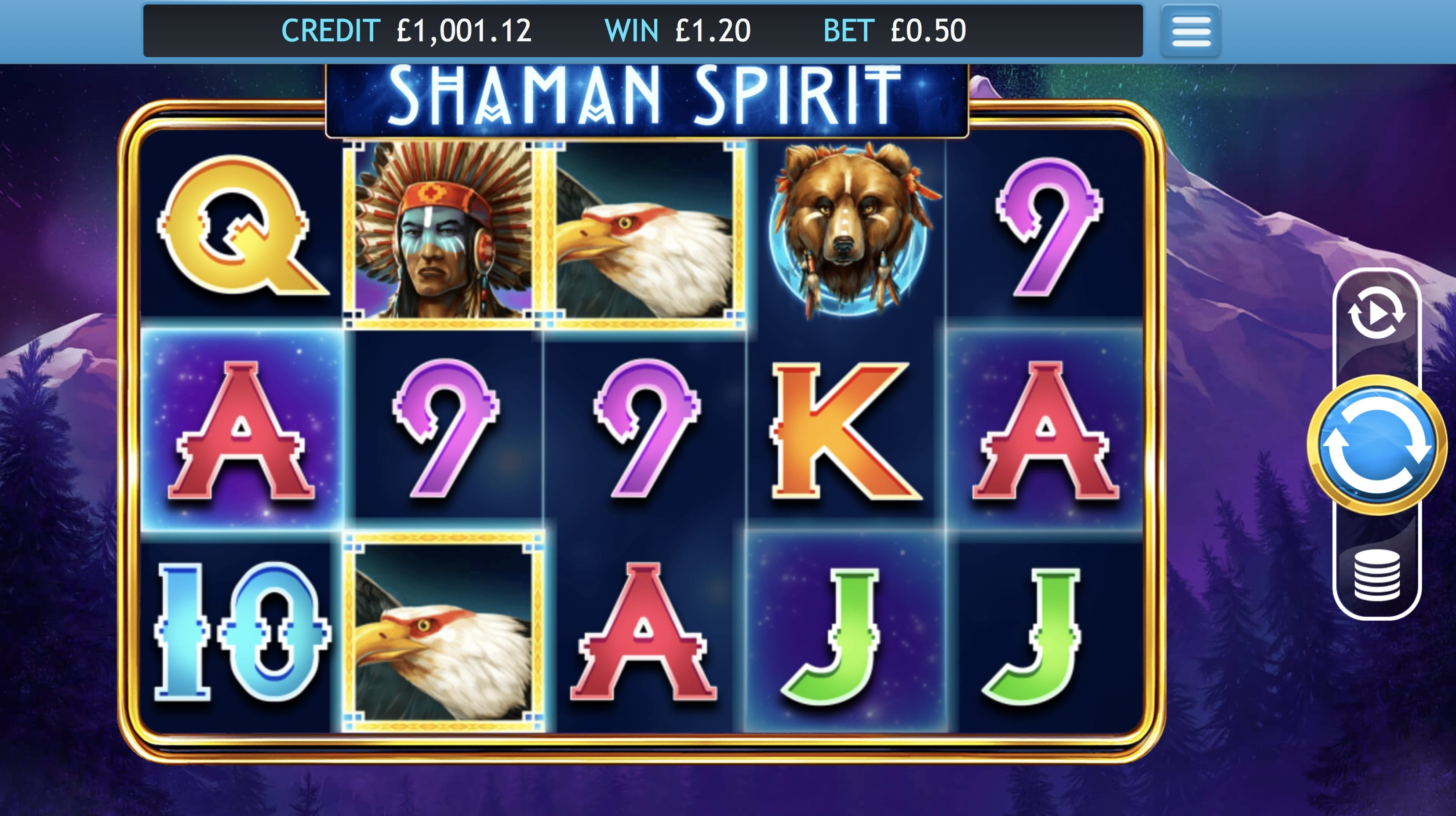 Shaman Spirit online slots game gameplay
