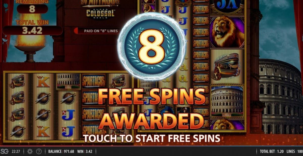 Spartacus Super Colossal Reels Slot Big Win