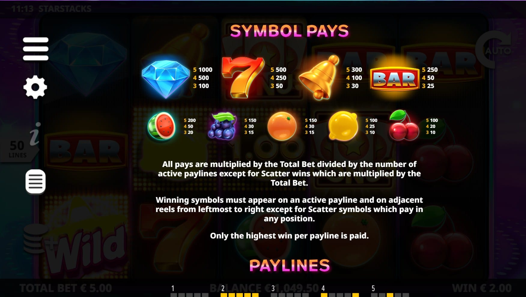 Star Stacks Slot Symbols