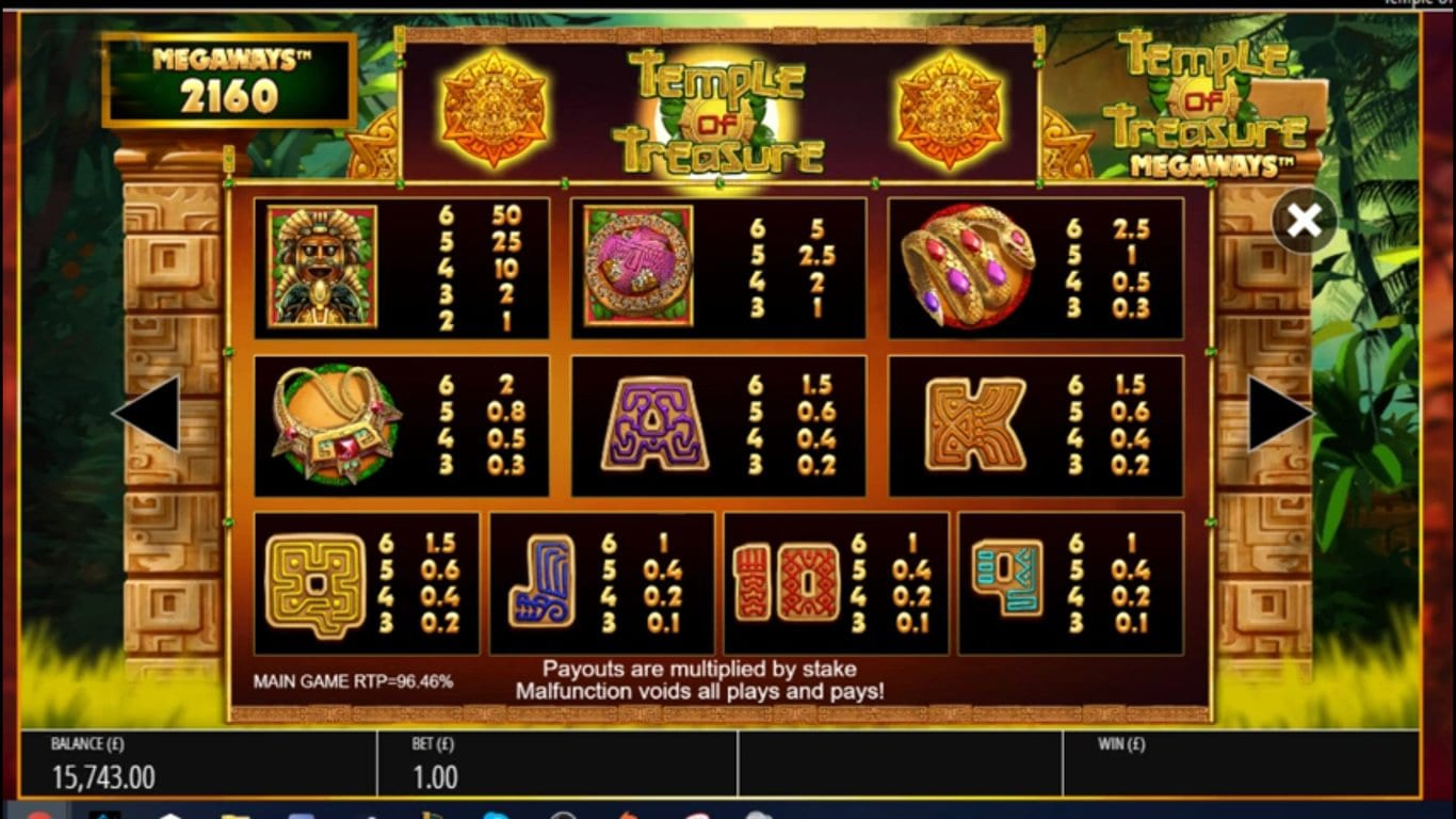 Temple of Treasure Megaways Slot Symbols