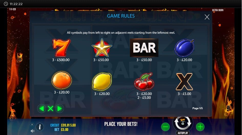 Ultra Burn Slot Paytable