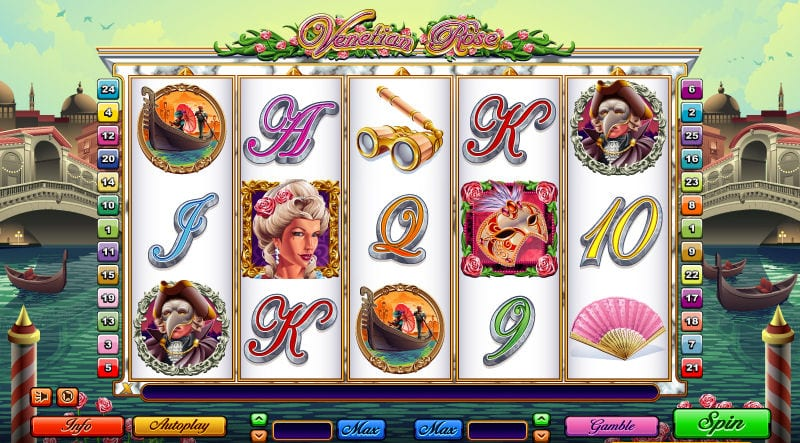 Venetian Rose online slots game gameplay lines