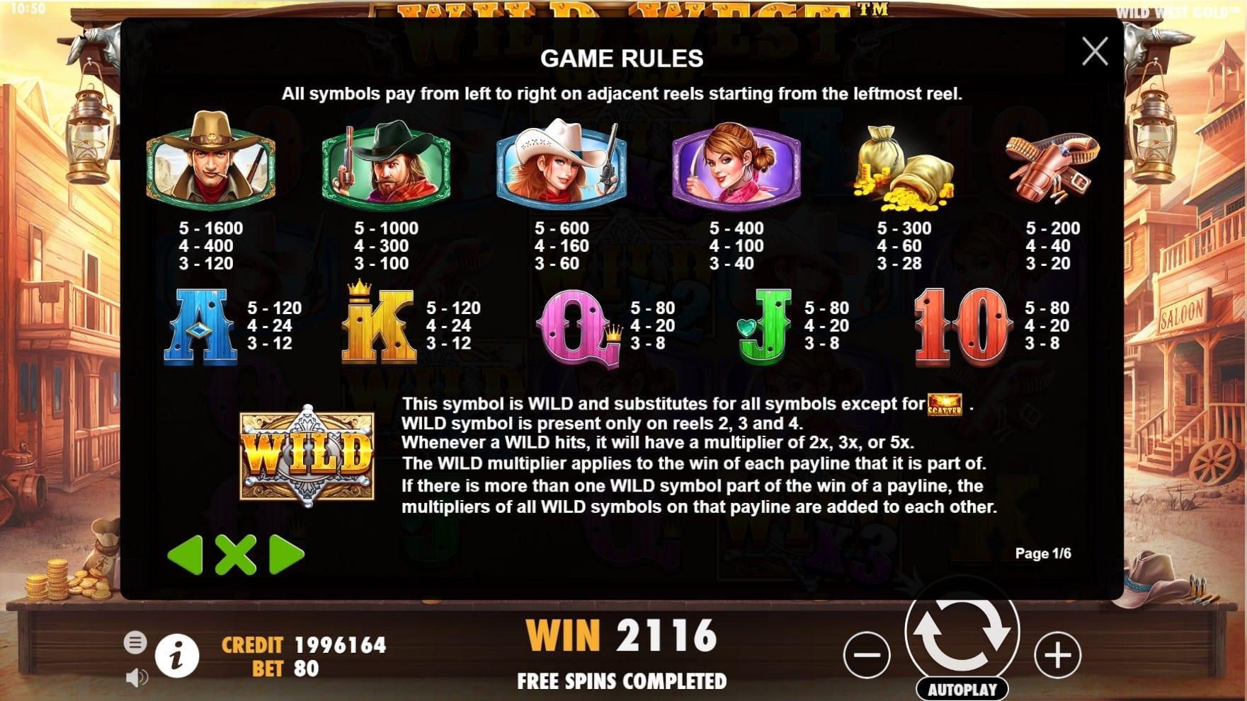 Wild West Gold Slot Symbols