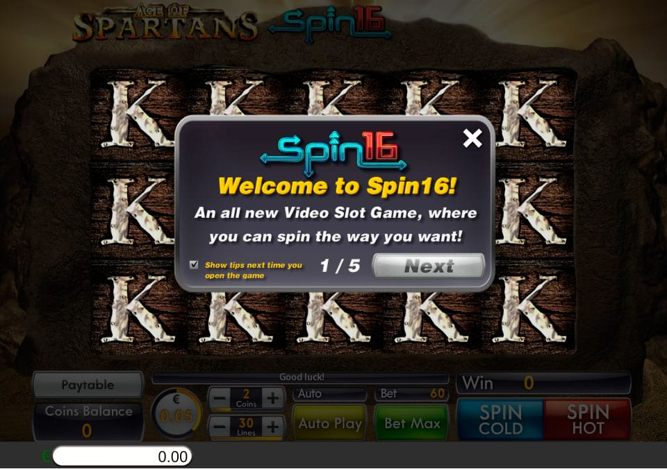 Age of Spartans Spin 16 Welcome