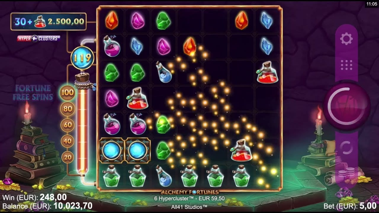 Alchemy Fortunes Hyper Clusters Slots Reels