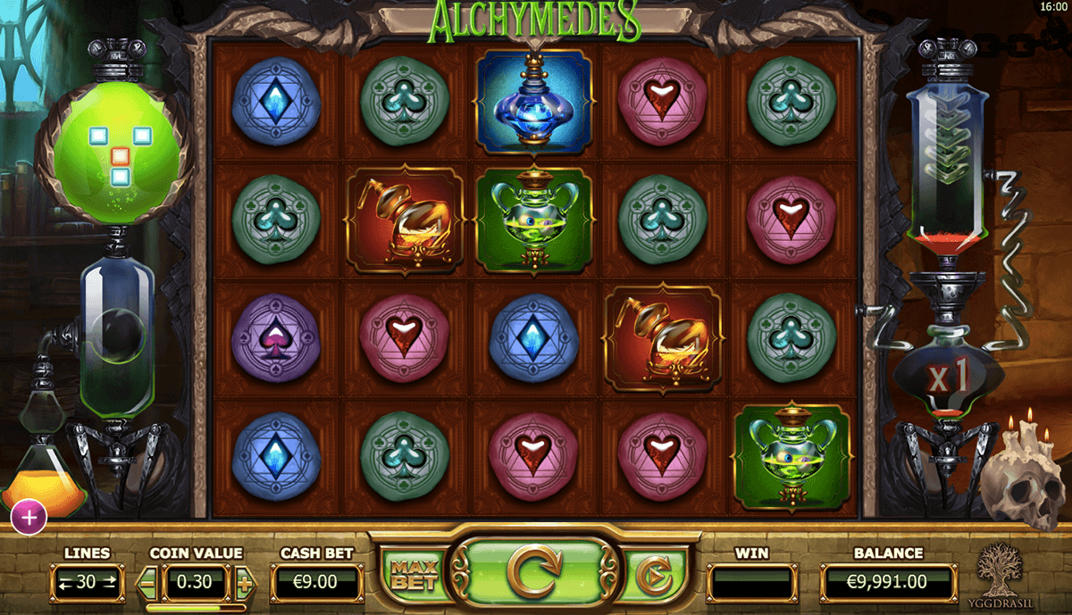 Alchymedes online slots game gameplay