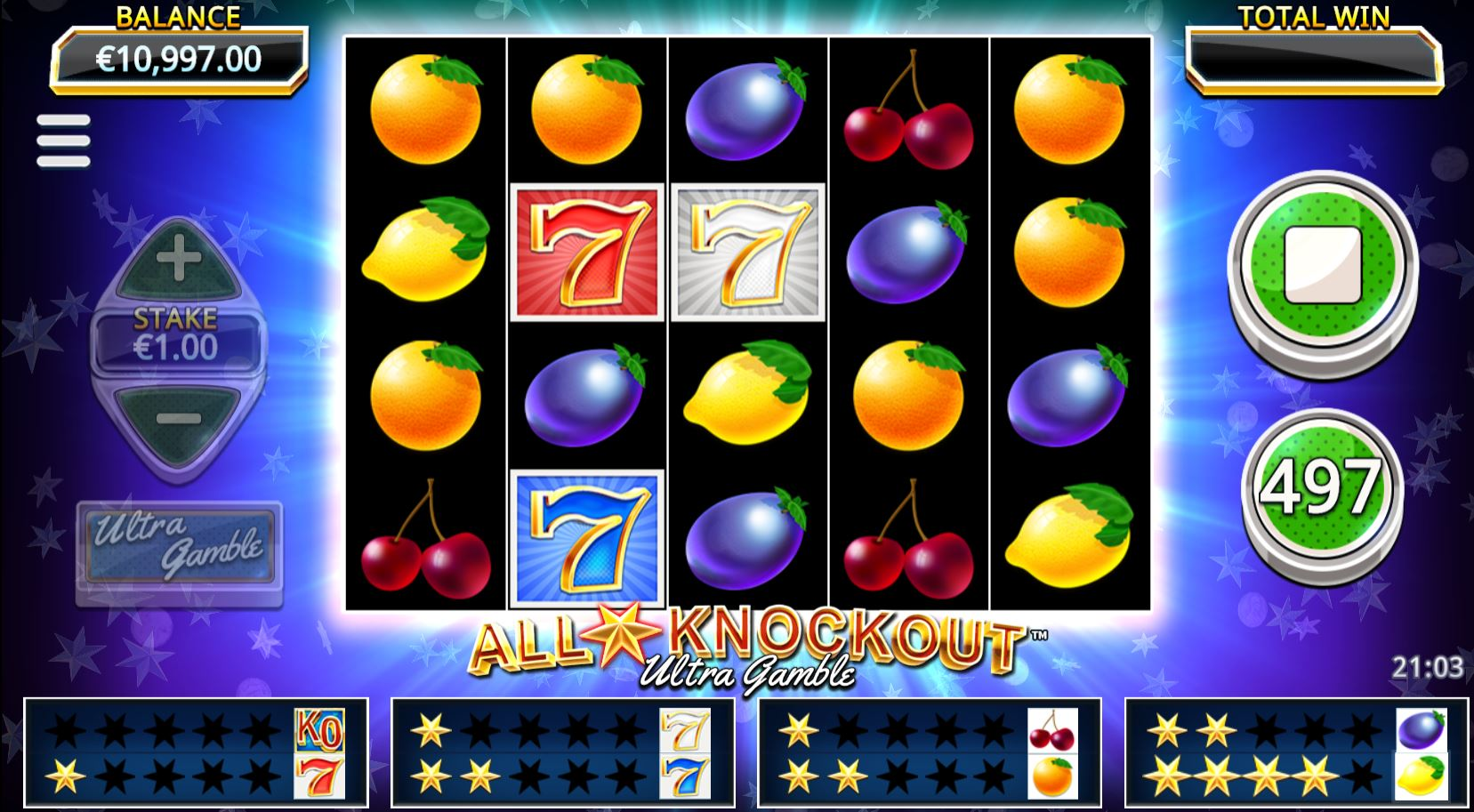 All Star Knockout Ultra Gamble Slots Game