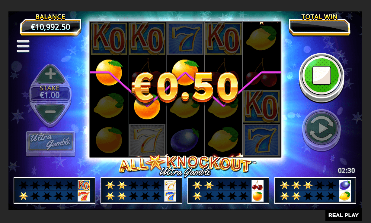 All Star Knockout Ultra Gamble Slot Win