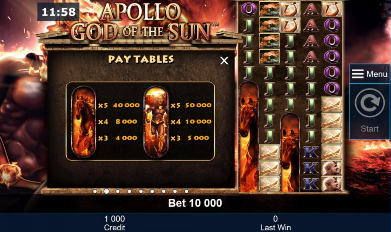 apollo god of the sun paytable