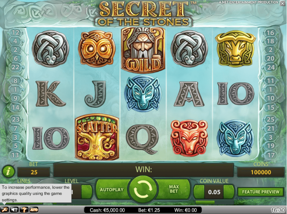 Secret of the Stones online slots game gameplay