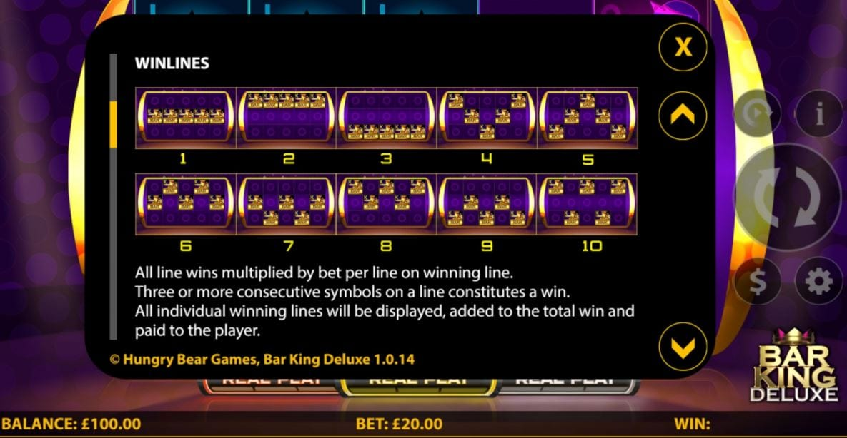 Bar King Deluxe Slot Paylines