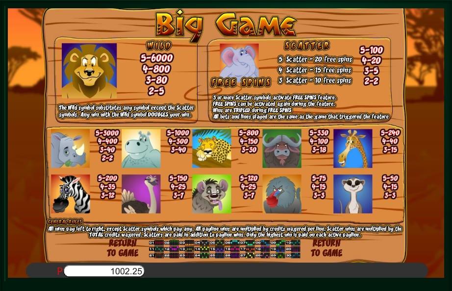 Big Game Slot Paytable