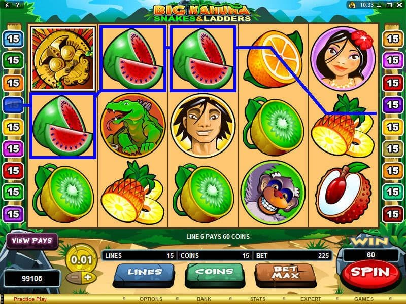 Big Kahuna - Snakes and Ladders slots gameplay