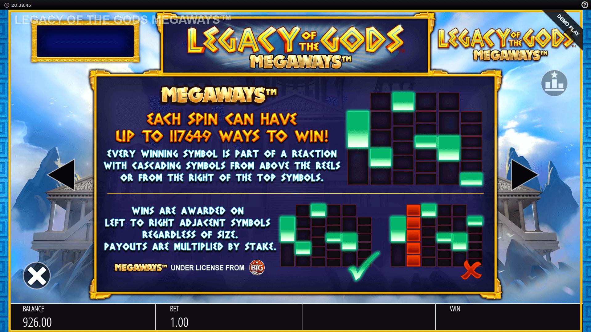 Legacy of the Gods Megaways Slot Info