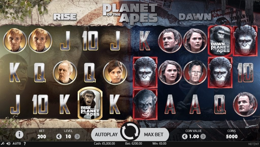 Planet of the Apes online slots game gameplay