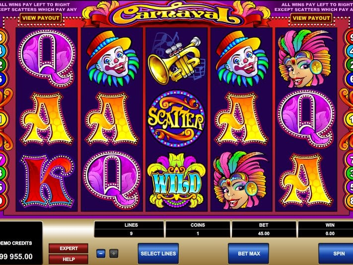 Carnaval online slots game gameplay