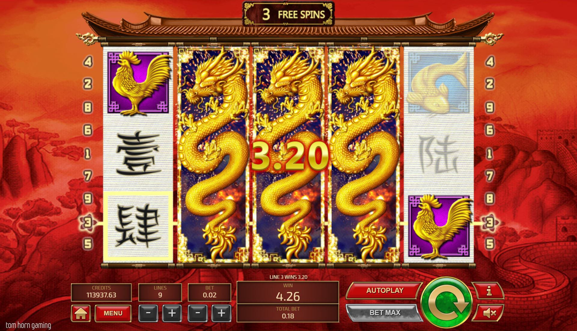 feng fu free spins